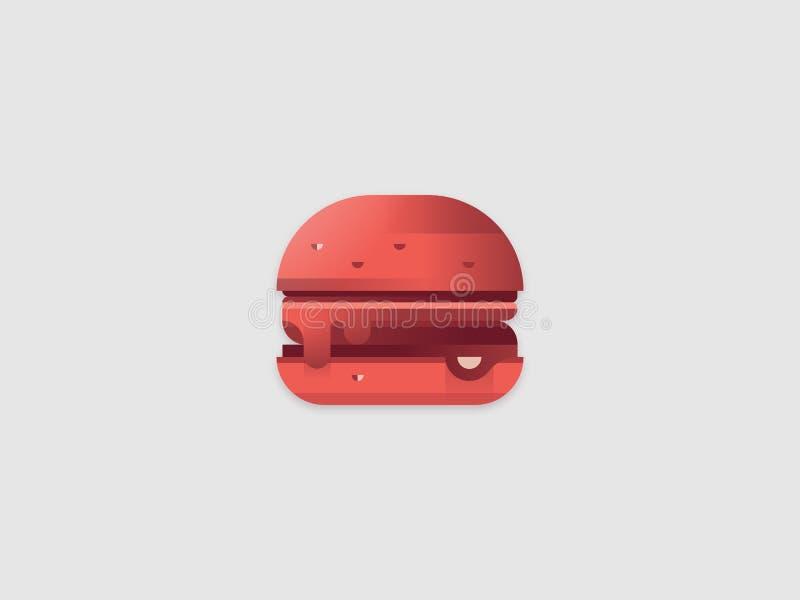 Изолированная иллюстрация вектора гамбургера Значок изолированный красным цветом Иллюстрация логотипа Cheeseburger Значок материа бесплатная иллюстрация