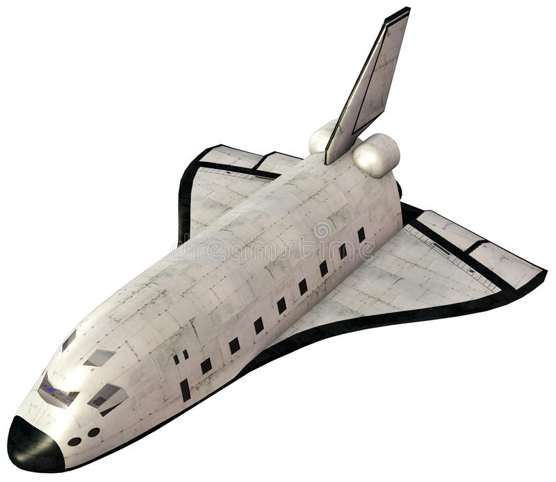 Изолированная иллюстрация корабля космического летательного аппарата многоразового использования иллюстрация штока