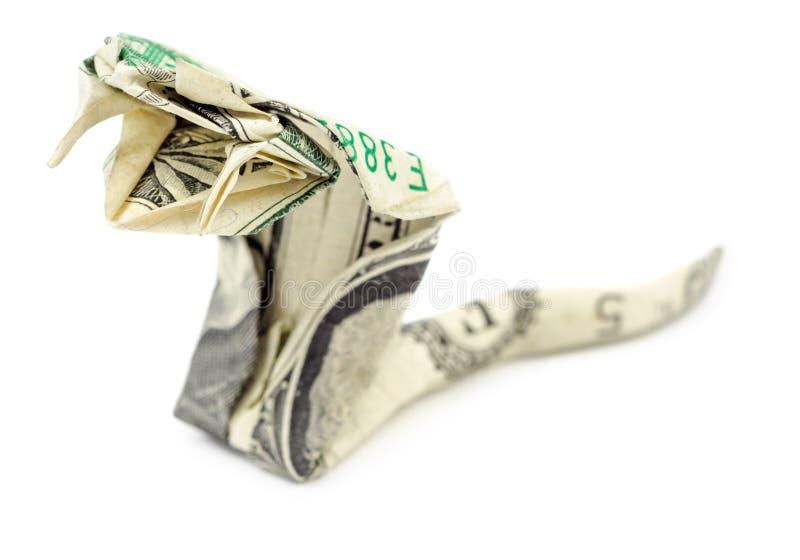 Изолированная кобра origami доллара стоковые фото