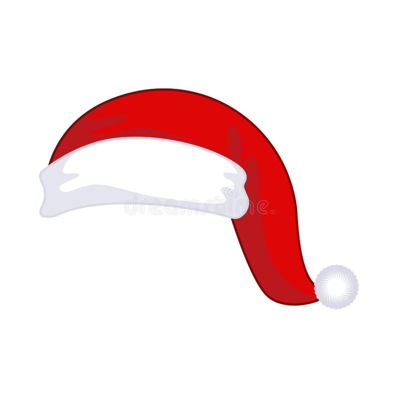 Изолированная крышка Санта Клауса Шляпа красного цвета рождества Templat дизайна Xmas иллюстрация штока