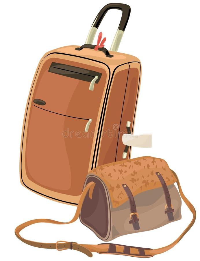 изолированная мешком белизна чемодана стоковое фото