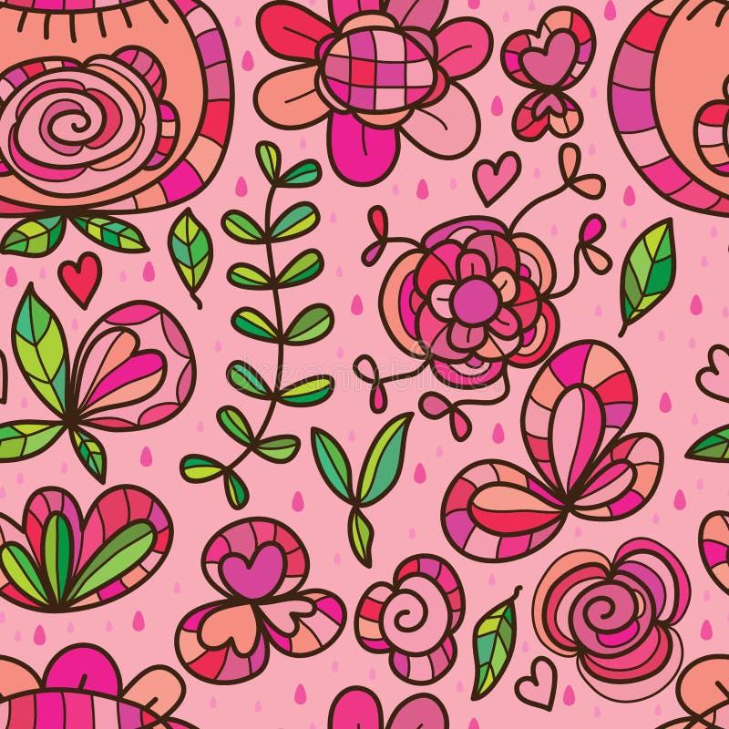 Изолированная полевым цветком картина розового дождя безшовная иллюстрация штока