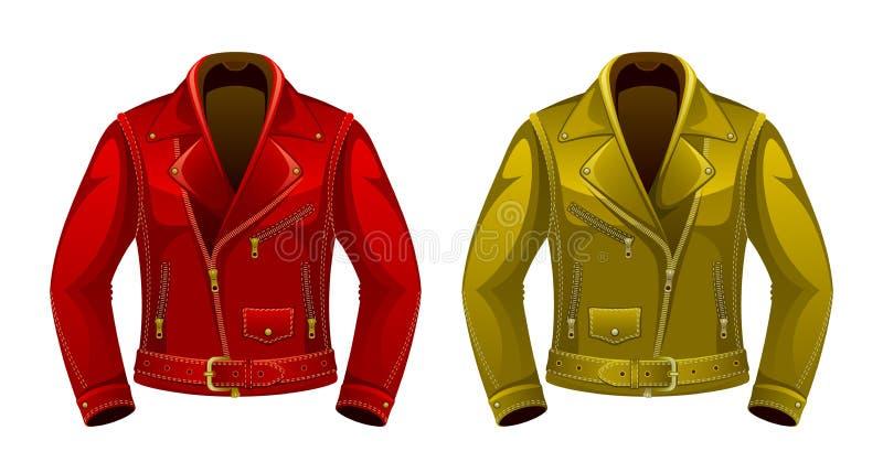 изолированная предпосылкой белизна кожи куртки иллюстрация штока