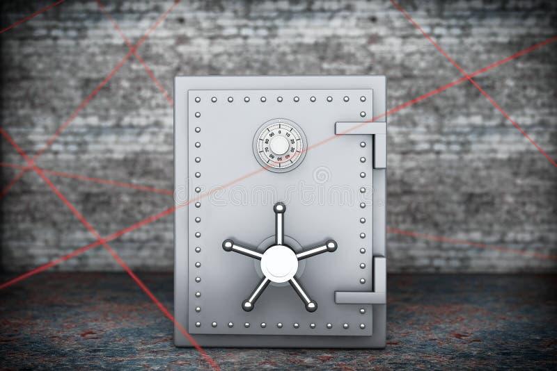 изолированная принципиальная схема 3d представляет безопасность белой Стальной сейф банка стоковая фотография