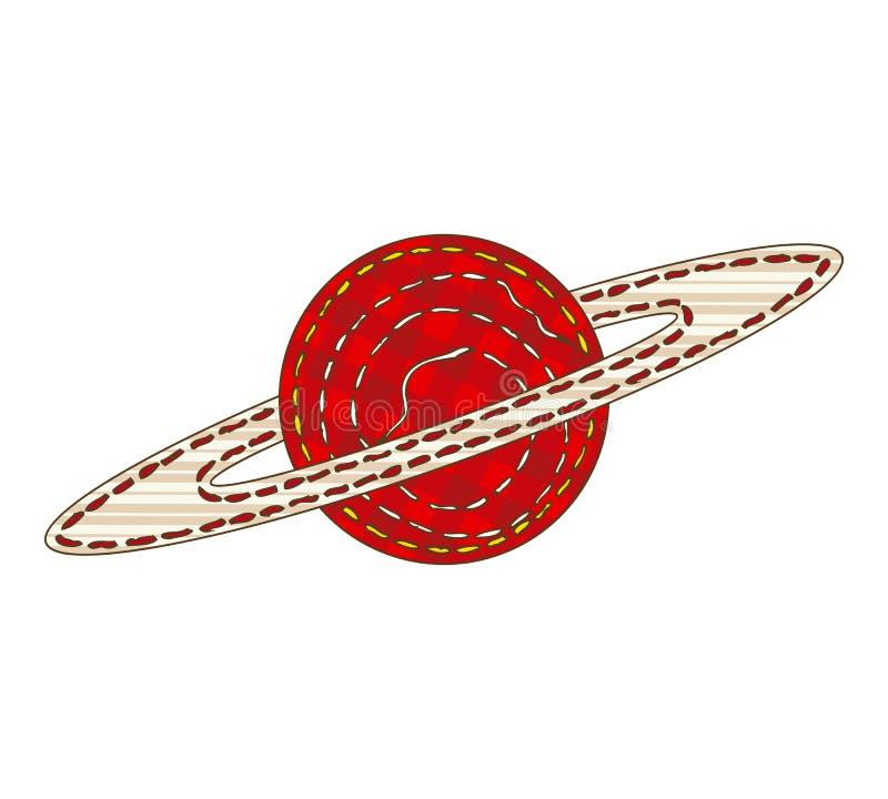 Изолированная планета Сатурн заплатки иллюстрация вектора