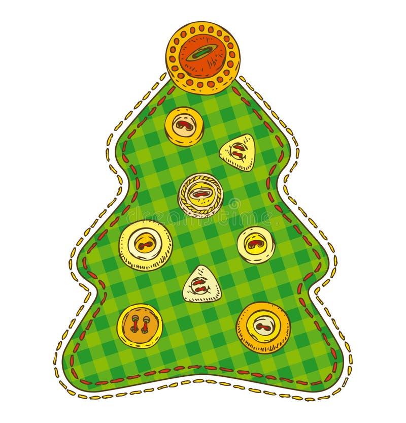 Изолированная рождественская елка заплатки иллюстрация вектора