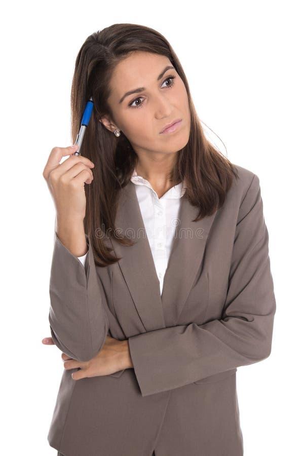 Изолированная серьезная и унылая бизнес-леди имеет проблемы стоковое фото rf