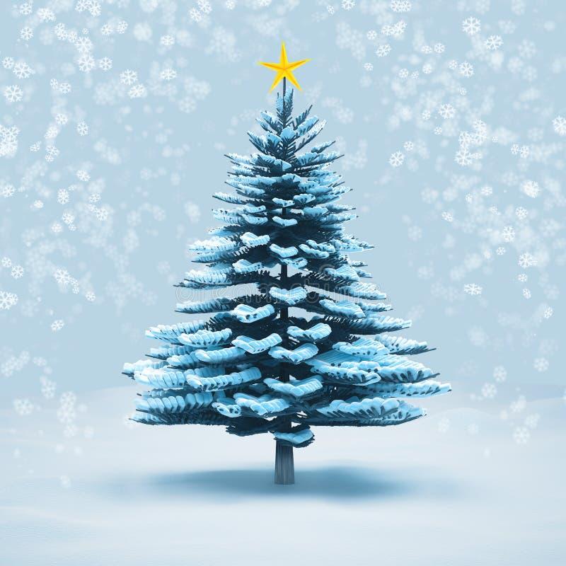 Изолированная сосна рождественской елки снега вид спереди иллюстрация вектора
