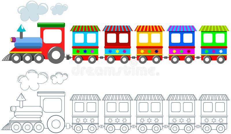 Изолированная страница расцветки поезда игрушки красочная иллюстрация штока