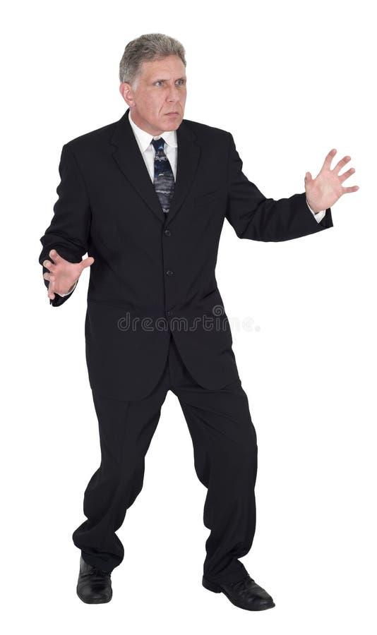 Изолированная схватка Wrestle дракой бизнесмена, стоковое фото