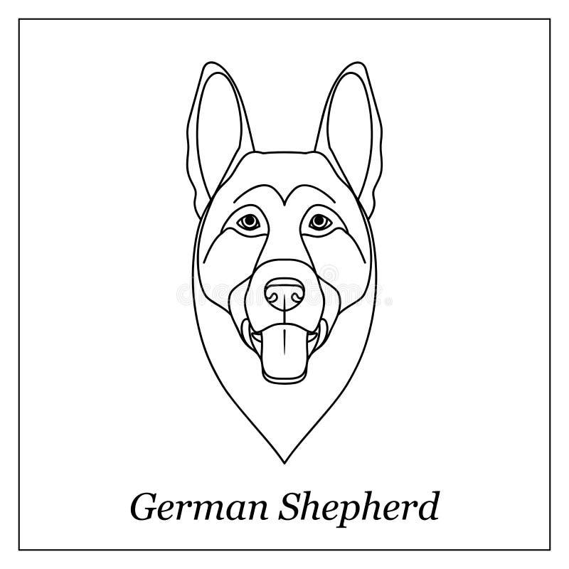 Изолированная черная голова плана немецкой овчарки на белой предпосылке Линия портрет собаки породы шаржа бесплатная иллюстрация