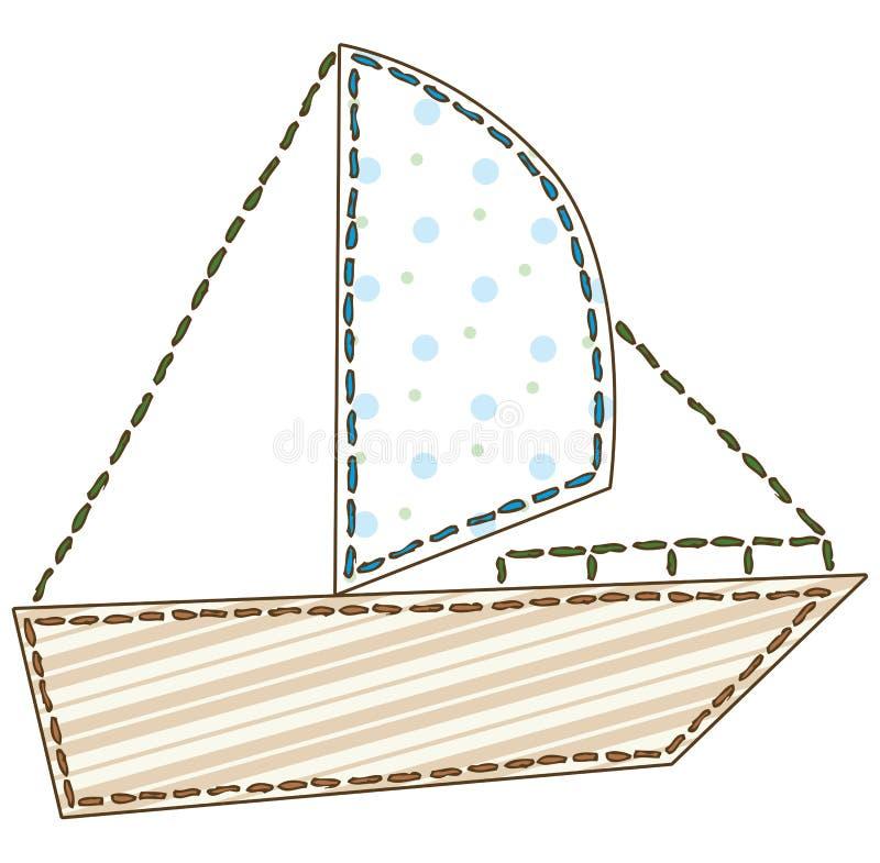 Изолированная шлюпка заплатки иллюстрация штока