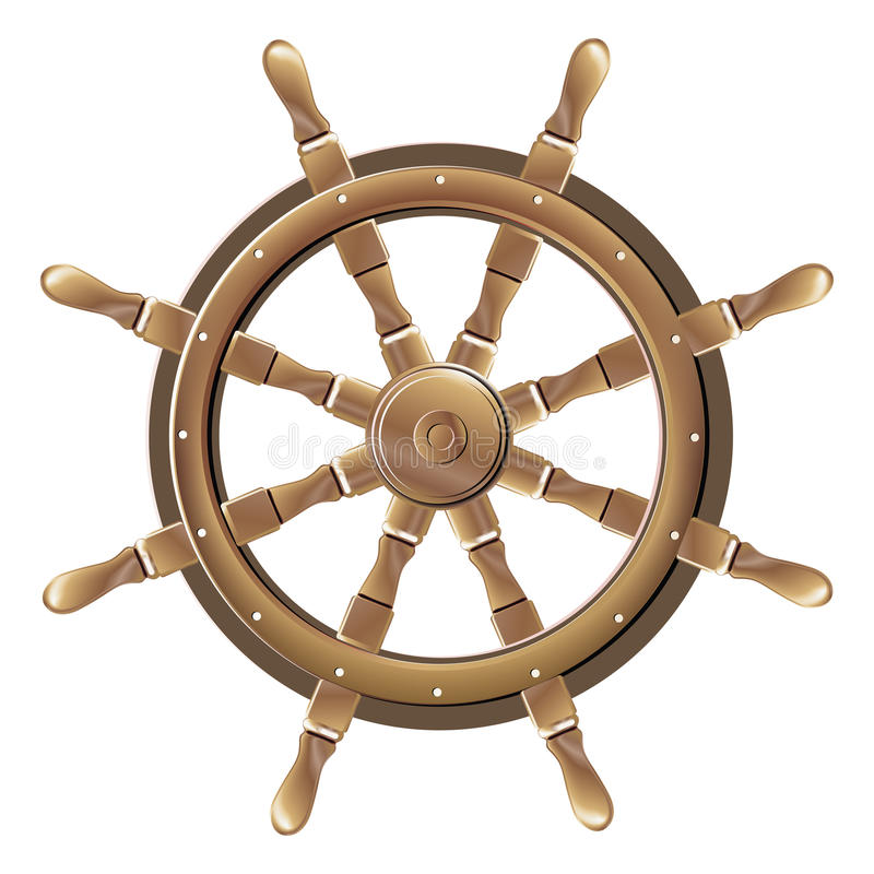 Изолированное винтажное коричневое деревянное рулевое колесо шлюпки бесплатная иллюстрация