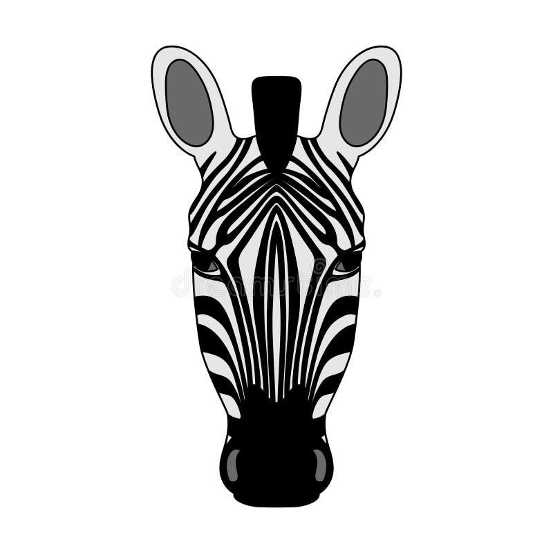 Изолированное головное striped зебры на белой предпосылке Покрашенный портрет шаржа иллюстрация штока