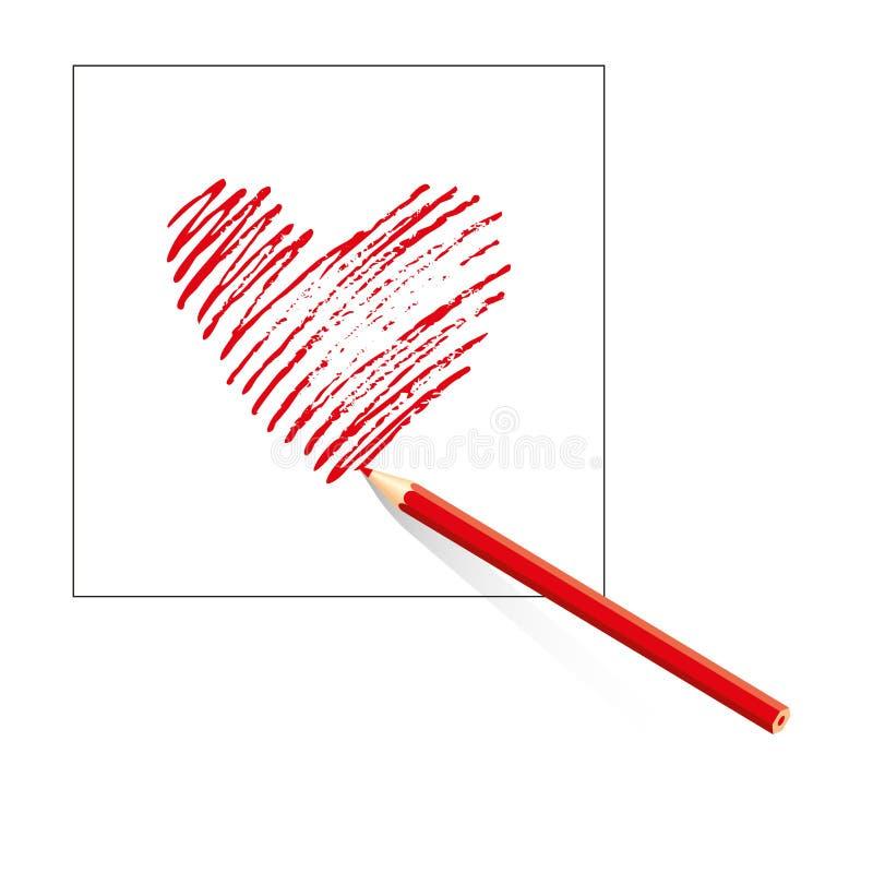 Изолированное красное сердце нарисованное покрашенным карандашем на листе белой бумаги на белой предпосылке вычерченная рука иллюстрация вектора