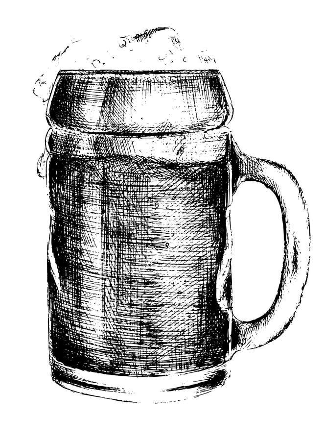 Изолированное нарисованное рукой стекло пива иллюстрация штока