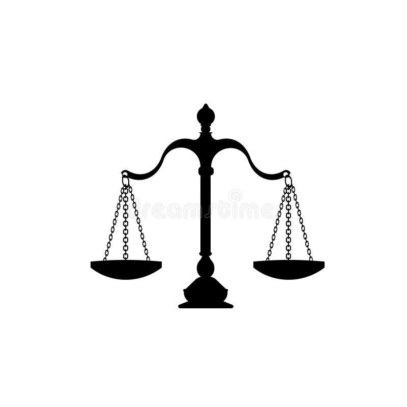 изолированное правосудие над маштабами белыми иллюстрация вектора
