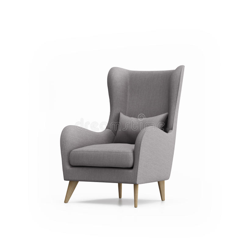 Изолированное серое изолированное кресло стоковые изображения rf