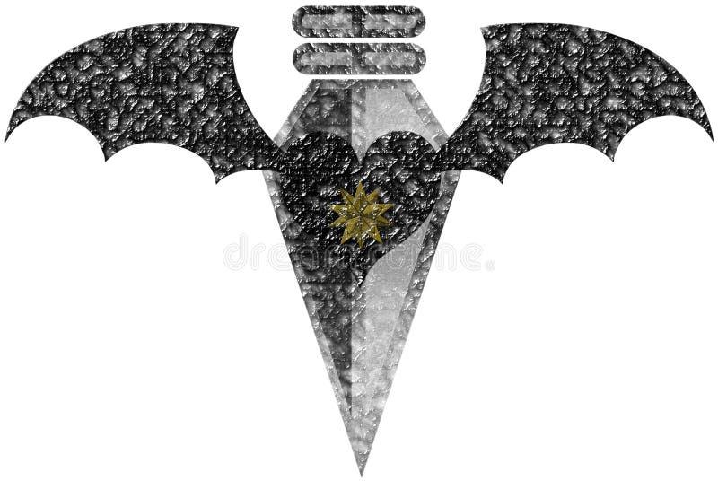 Изолированное сердце с крылами и наконечником иллюстрация вектора