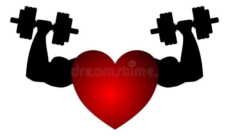 Изолированное сердце фитнеса иллюстрация штока