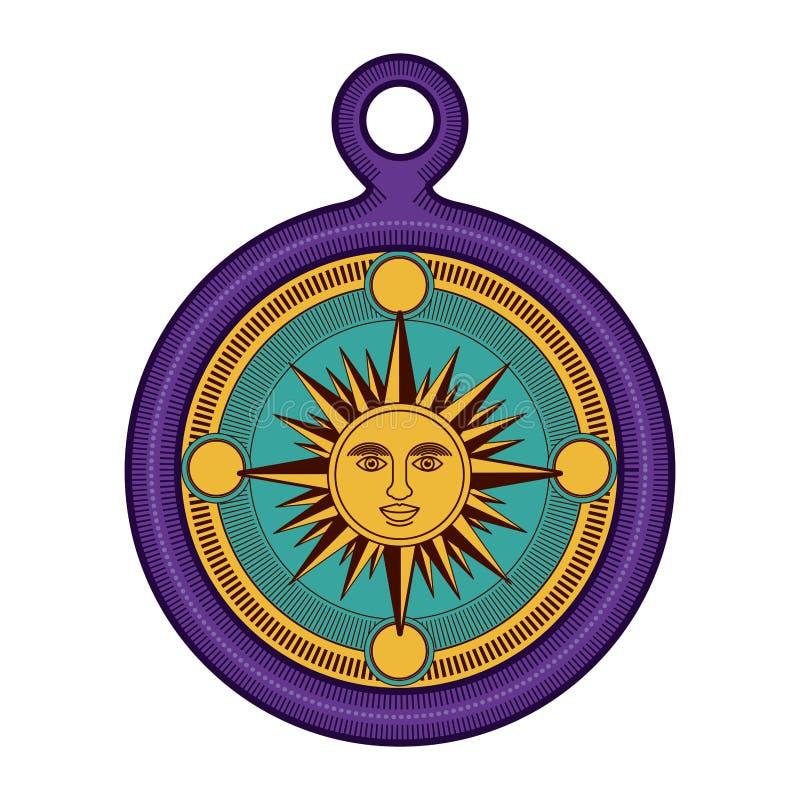 Изолированное солнце внутри дизайна компаса иллюстрация штока