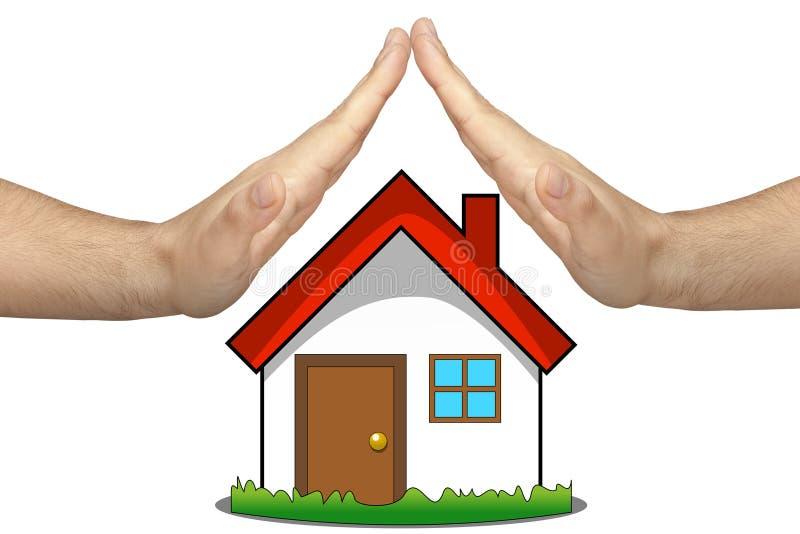 Изолированное страхование жилья вручает защиту стоковое фото rf