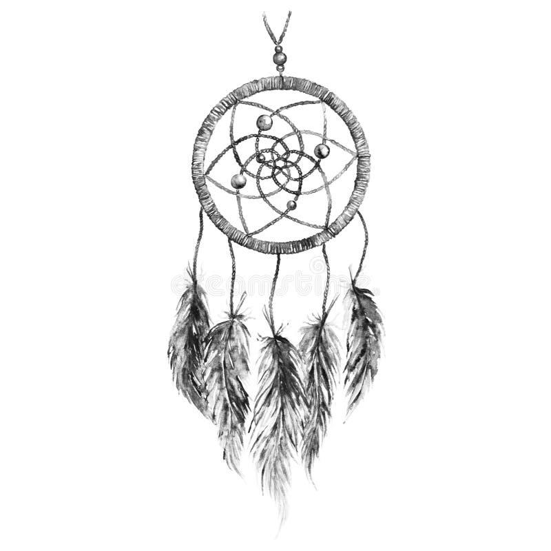Изолированное dreamcatcher пера акварели черно-белое monochrome этническое племенное ручной работы бесплатная иллюстрация