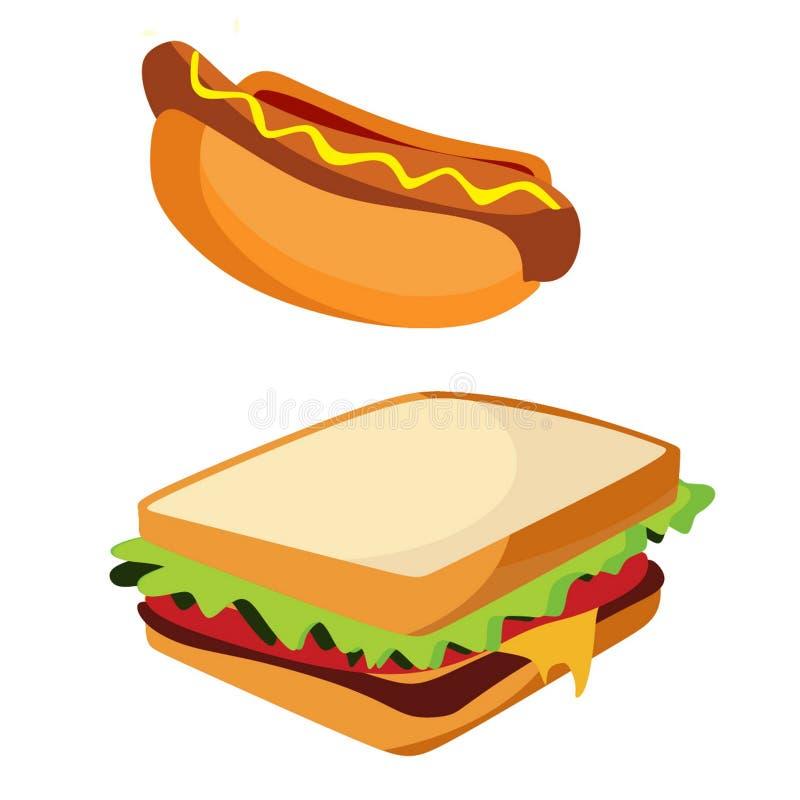 Изолированные горячая сосиска высококалорийной вредной пищи и сандвич, стиль doodle иллюстрация штока