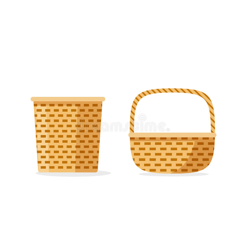 Изолированные значки вектора плетеной корзины, плоский weave шаржа, хранение или корзины пикника декоративные бесплатная иллюстрация