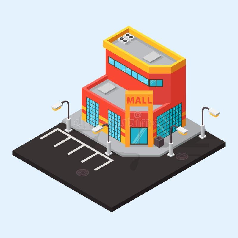 Изолированные здания магазина мола вектора равновеликие иллюстрация вектора