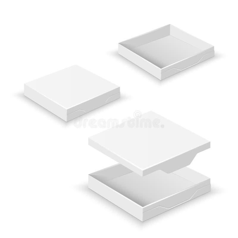 Изолированные коробки 3d белого квадрата плоские пустые иллюстрация вектора