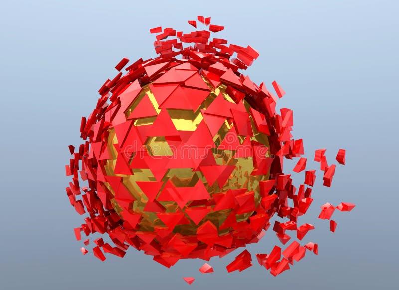 Изолированные красный цвет и золото 3d разрушенное сферой абстрактное иллюстрация штока