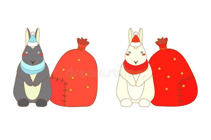 Изолированные кролики рождества иллюстрация вектора