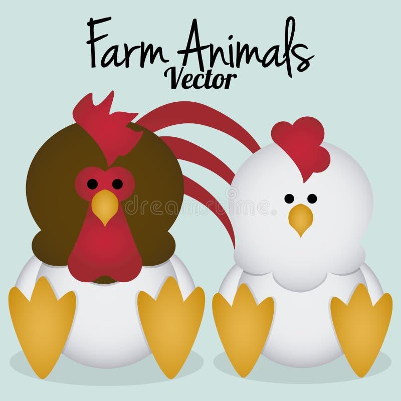 Изолированные курица и петух шаржа вектора милая бесплатная иллюстрация