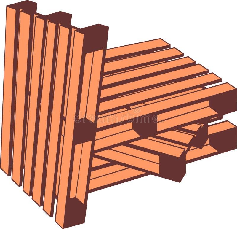 изолированные паллеты представляют белое деревянное иллюстрация вектора