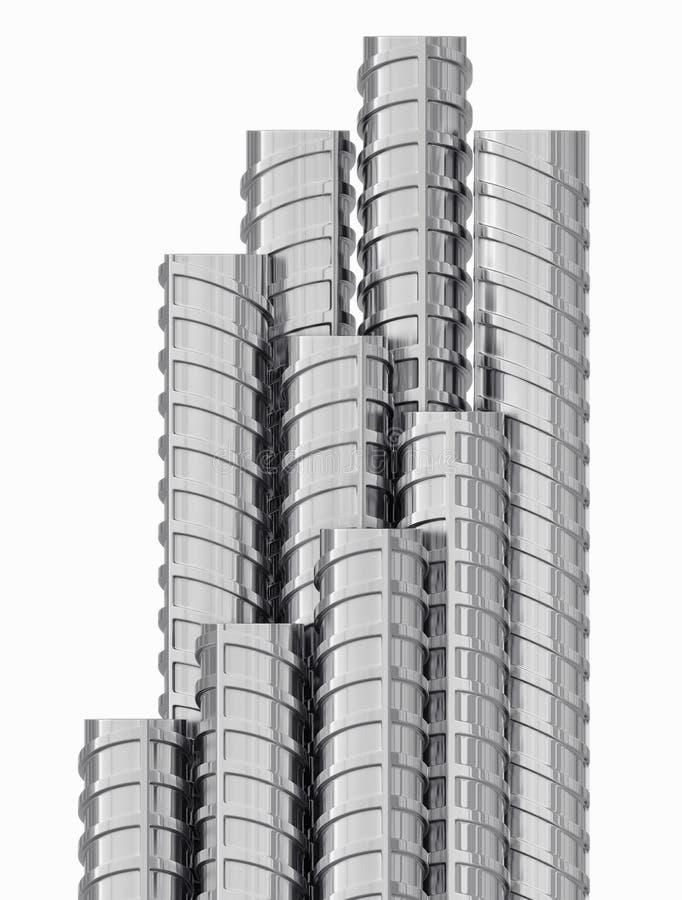 Изолированные подкрепления металла, конец вверх, иллюстрация штока