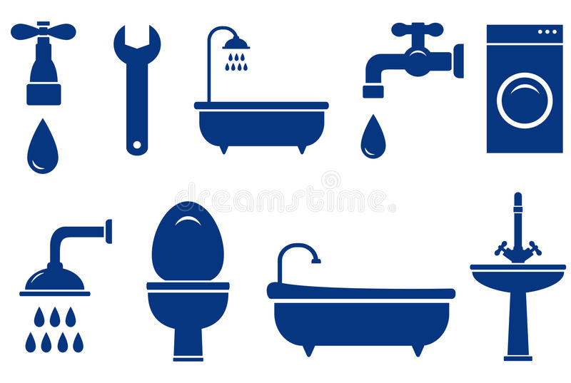 Изолированные предметы ванны на белой предпосылке бесплатная иллюстрация