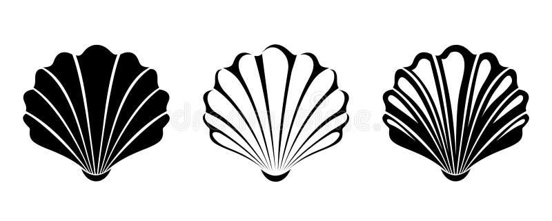 изолированные раковины моря установленные белые Силуэты вектора черные бесплатная иллюстрация