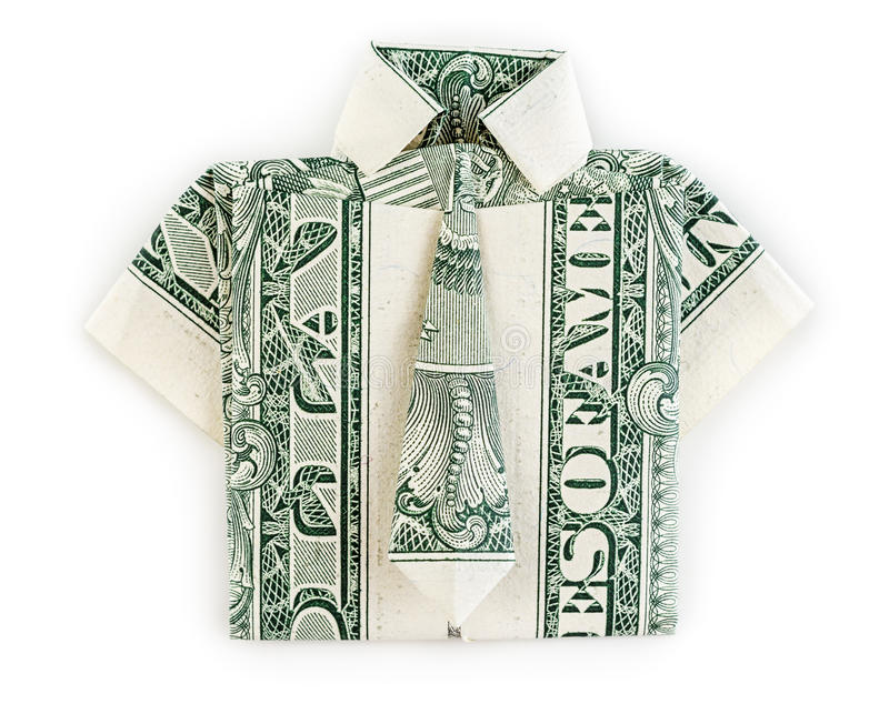 Изолированные рубашка и связь origami доллара стоковые фотографии rf