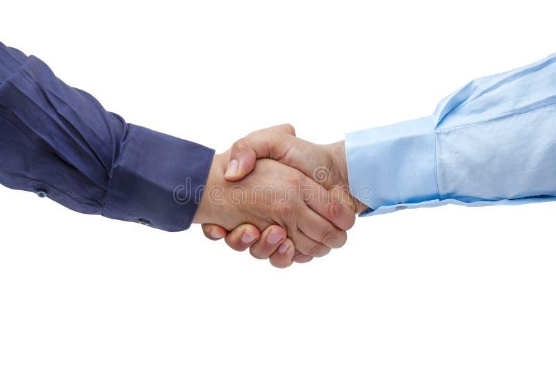 Изолированные руки бизнесменов рукопожатия Handshaking твердые стоковое фото
