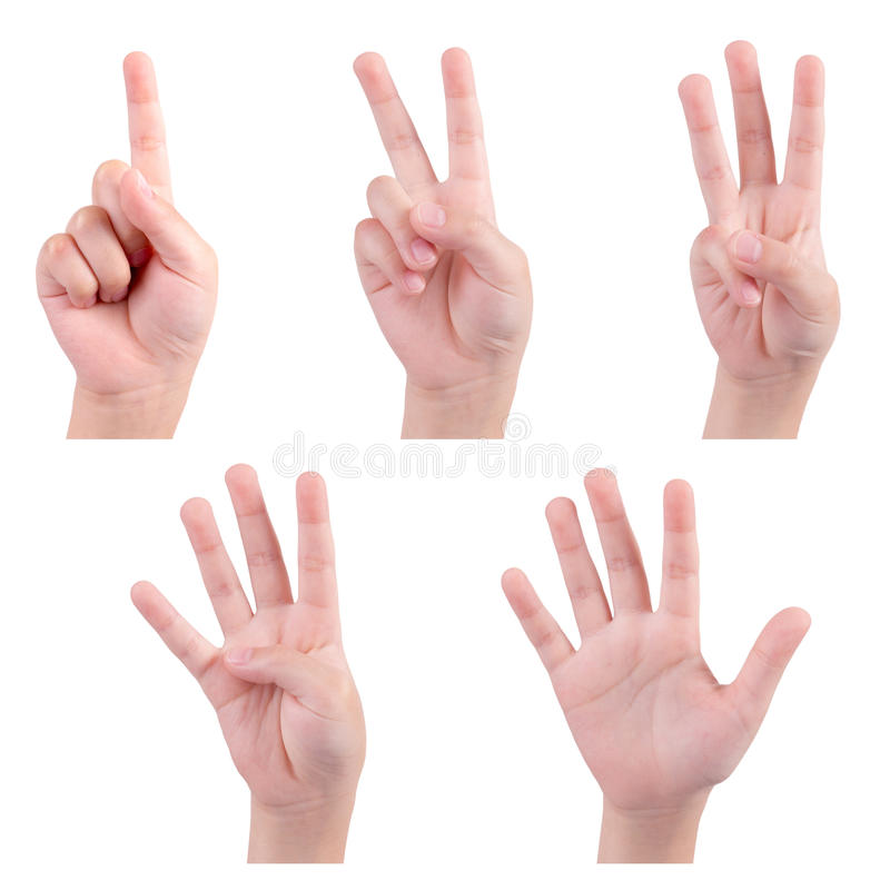Изолированные руки детей показывают номер стоковое фото rf