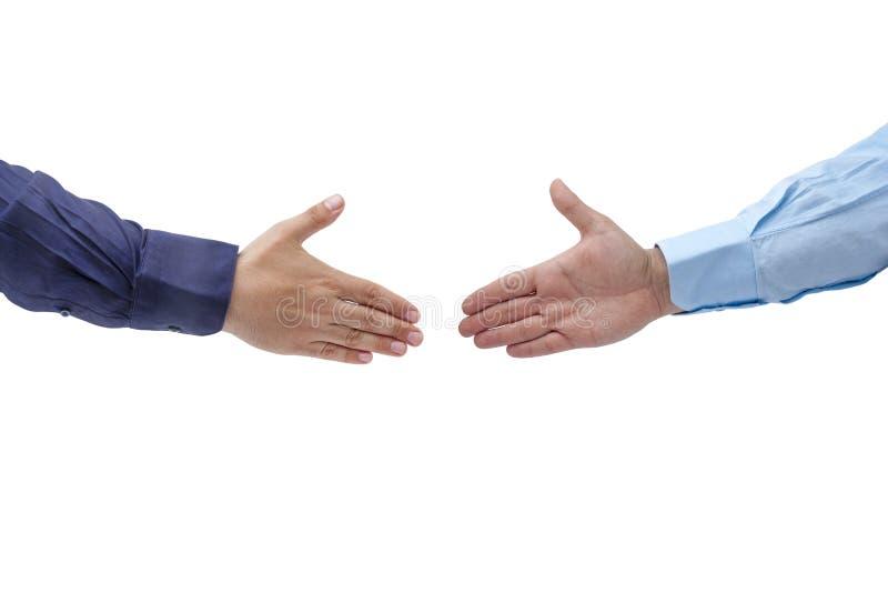 Изолированные руки Handshaking мужские раскрывают ладони стоковые фотографии rf