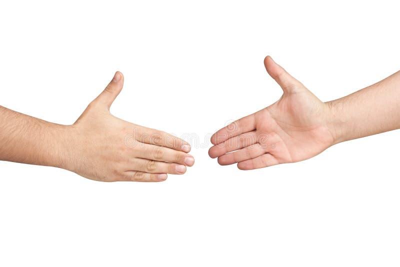 Изолированные руки Handshaking мужские стоковое фото rf