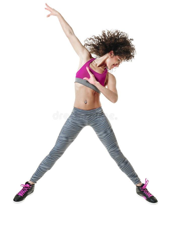 Изолированные тренировки фитнеса танцора женщины стоковые фотографии rf