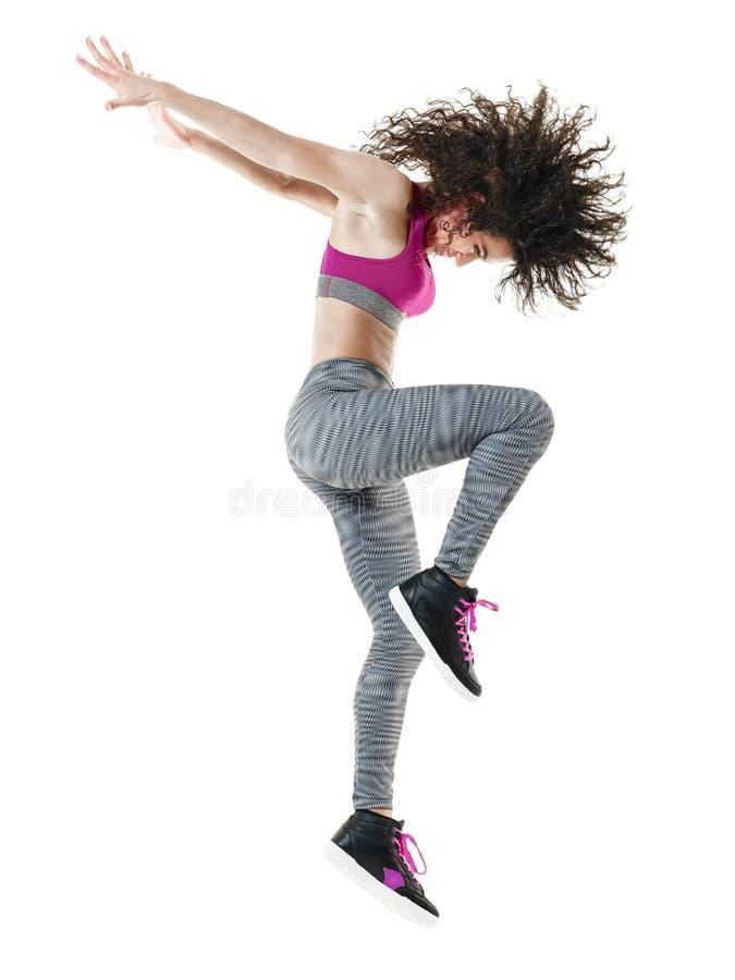 Изолированные тренировки фитнеса танцора женщины стоковое изображение rf