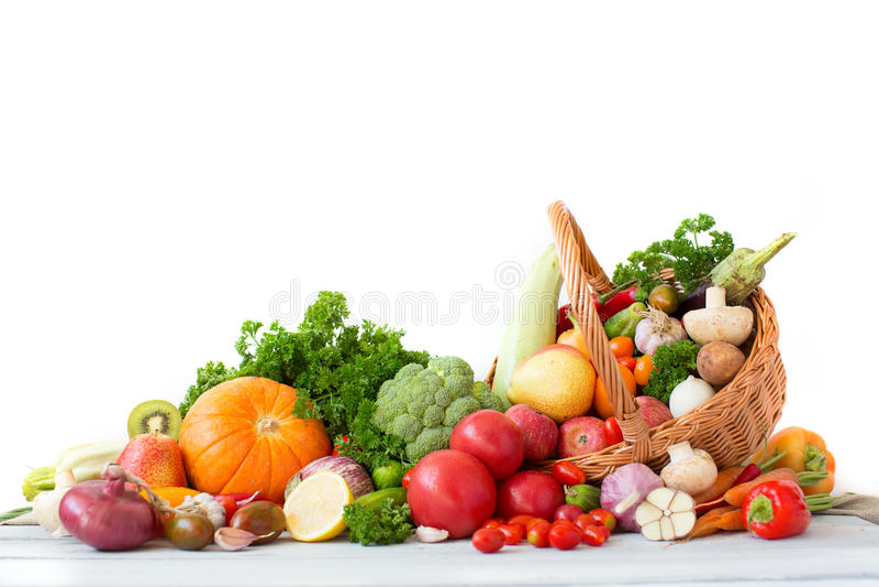 Изолированные фрукты и овощи собрания стоковое изображение rf