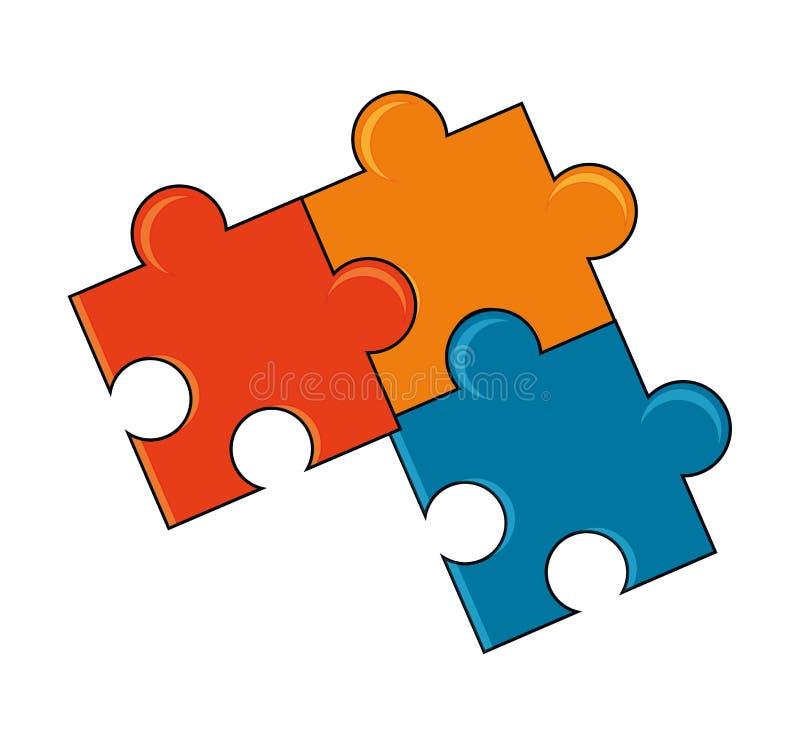 Изолированные части дизайна головоломки иллюстрация штока