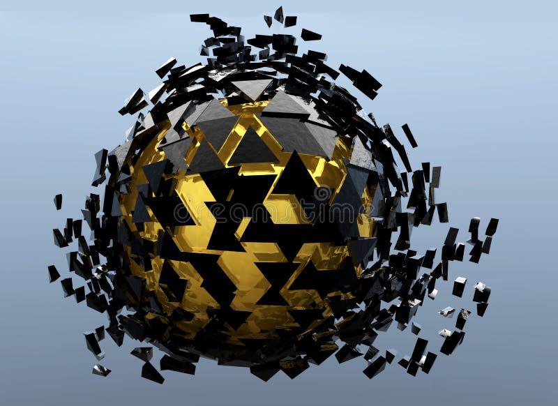 Изолированные чернота и золото 3d разрушенное сферой абстрактное иллюстрация вектора