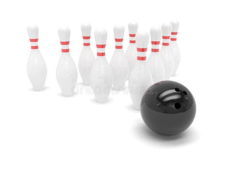Изолированные шарик боулинга и skittles иллюстрация штока