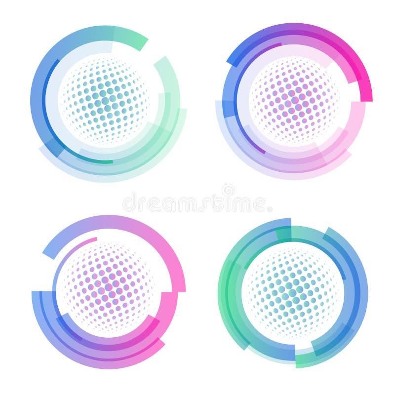 Изолированный абстрактный красочный комплект логотипа округлой формы, циркуляр обрамляет логотипы собрание, значки шаров для игры иллюстрация вектора